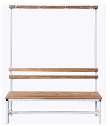 Banco con espaldera para vestuario, de metal y madera, 100 x ...