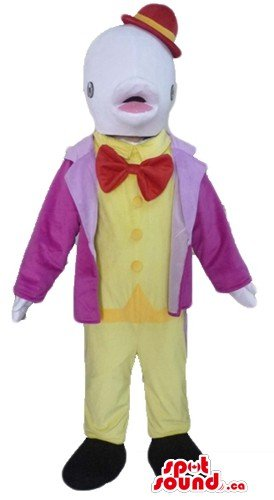 Mascots Costumes Canada (Elegant fish SpotSound Mascot US costume in yellow purple dress & red hat)