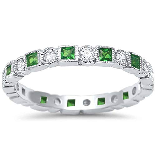 (Sterling Silver Antique Style Emerald and Cubic Zirconia Stackable Eternity Band Ring,Width 12MM (Size 4-10))