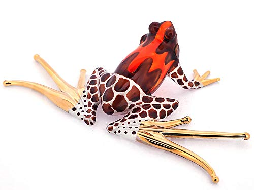 ZOOCRAFT Blown Glass Frog Figurine Brown Dart Hand Painted Animals Collection Miniature Home Garden Decor