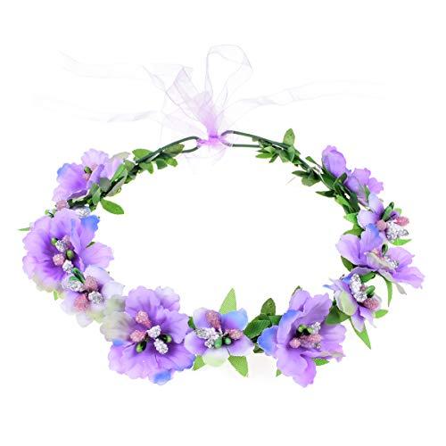 Girl Wreath - Love Sweety Girls Boho Rose Floral Crown Wreath Wedding Flower Headband Headpiece (A-Purple)