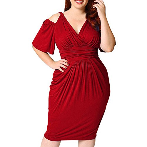 LandFox Flapper Dress,Prom Dress, Dress for Women,s Plus Size V-Neck Strapless Sexy Solid Casual Short Sleeve Dress Red