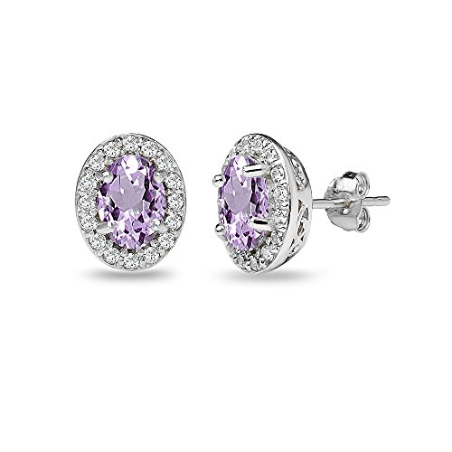 (Sterling Silver Amethyst & White Topaz Oval Halo Stud Earrings with White Topaz Accents)