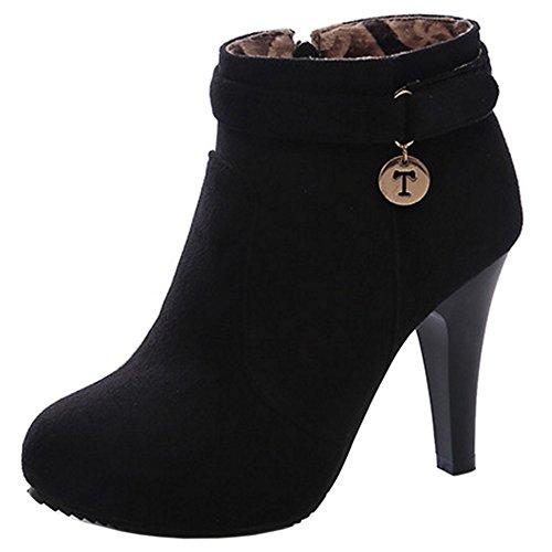 TAOFFEN Women Fashion Stiletto Ankle Boots With Zipper Antumn Winter Shoes 1315 Black usAuqnjA