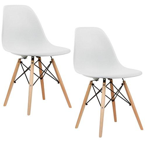 Charles U0026 Ray Inspiriert Eiffel DSW Retro Design Wood Style Stuhl Für Büro  Lounge Küche U2013 Weiß (2): Amazon.de: Küche U0026 Haushalt