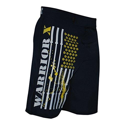 WOD Crossfit MMA Fitness Shorts (NAVY/YELLOW, 34)
