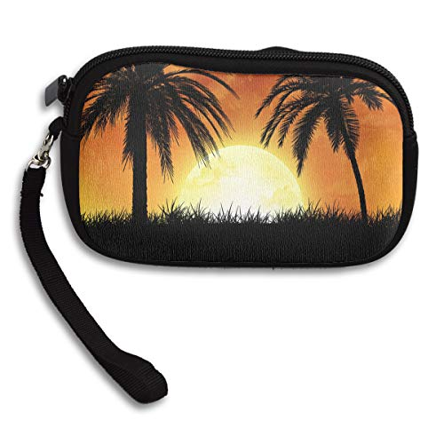 Small Purse One Palm Trees Sunset Personalized Coin Purse for Girls