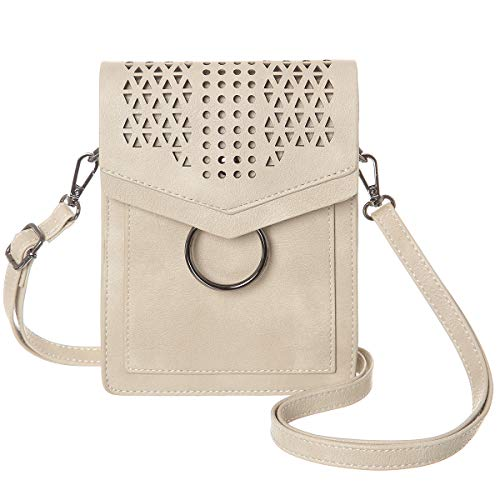 MINICAT Women Portable Small Crossbody Bags Cell Phone Purse Wallet With Credit Card Holder(Beige-RFID Blocking)