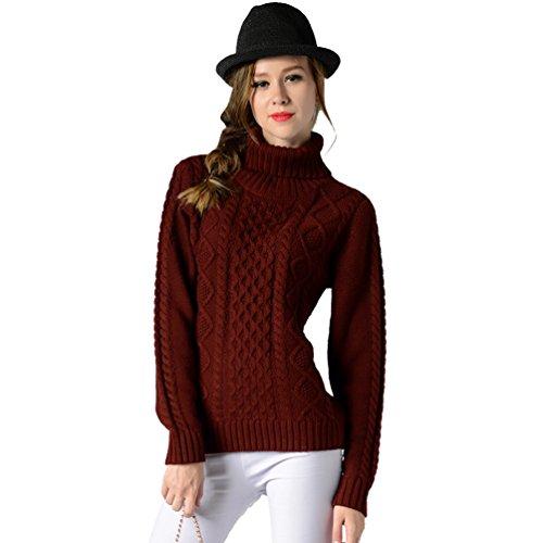 Donna Zhiyuanan Invernali Colletto Solido Rosso Maglioni Sweater Pullover scuro Colore Maniche Moda Slim Leisure Alta Lunghe HrqTvrdw