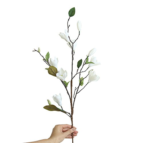 NszzJixo9 Artificial Fake Flowers Leaf Magnolia - Floral Wedding Bouquet Party Home Decor, Silk for Decor,Flower Arrangements,Flowers Artificial for Indoor Outdoor Wedding Home Office (White)