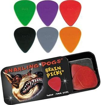 Snarling Dogs Brain Guitar Picks Grey 1.00 mm  12 picks with Tin Box