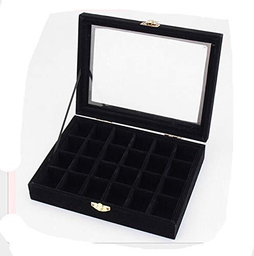(AMDXD Jewelry Storage Box Alloy Rectangle Black 12 Slot Bracelet Box Organizer)