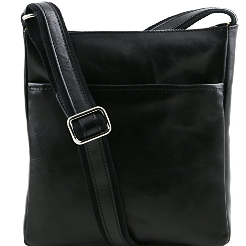 Tuscany Leather Jason Leather Crossbody Bag Black by Tuscany Leather