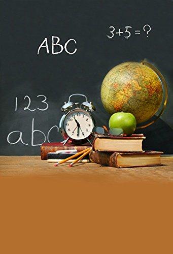 Laeacco Vinyl 5x7ft Photography Background School Theme Classroom Tools Students Pencil Alarm Clock Tellurion Books Green Apple Chalkletter Blackboard Scene Photo Video Studio Props Backdrop ()