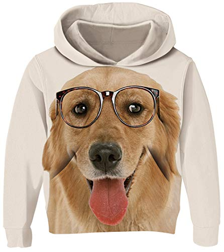 UNICOMIDEA Big Kids Hoodies Cute Pullover Trendy Hooded Sweater Animal Dog Printing Pullover Autumn and Winter Quick-Drying Clothes Size ()