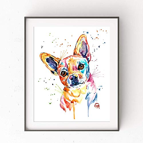 Chihuahua Wall Art by Whitehouse Art | Chihuahua Gifts For Women, Chihuahua Artwork, In Memory Of Dog | Professional Print of Chihuahua Original Watercolor | Chihuahua Home Decor | 2 Sizes