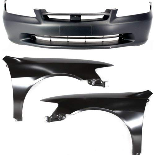 (Bumper Kit for Honda Accord 1998-2000 Set of 3 With Front Bumper Cover and Fender (Right and Left Side) )