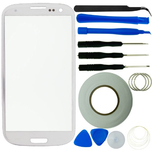 Eco-Fused Screen Replacement Kit for Samsung Galaxy S3 including Replacement Glass / Tool Kit / Adhesive Sticker Tape (S3 Lcd Screen Replacement Oem)