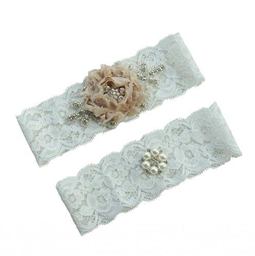 Miranda's Bridal Women's Lace Edge Lace Bridal Garters Wedding Garters with Pearl Champagne L (Lace Bridal Garter Set)
