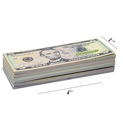 oney One-Sided 20 Bills of $1, $5, $10, $20, $50, & $100 for Monopoly and Educational Use for Children in All Ages - Small 4 ¼ Long, 1 ¾ Wide ()