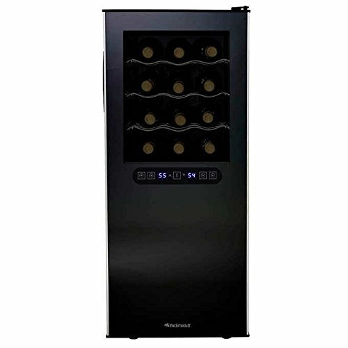 Wine Enthusiast 24-Bottle Dual-Zone Wine Cooler/Refrigerator Touchscreen Controls with Digital D ...