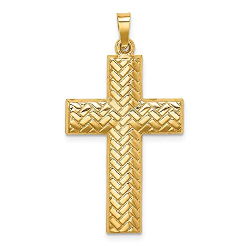 14k Yellow Gold Basketweave Design Latin Cross Necklace Pendant Charm Religious Fine Jewelry Gifts For Women For Her