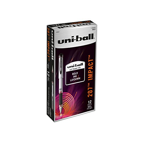 Uni-Ball 207 Impact Stick Rollerball Gel Pen, Red Ink, Bold Point, Dozen (SAN65802)