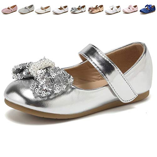 CIOR Toddler Girls Ballet Flats Shoes Ballerina Princess Dress Bowknot Jane Mary Wedding Party,VGZA3,Silver,26 (Wedding Dress Shoes Flats)