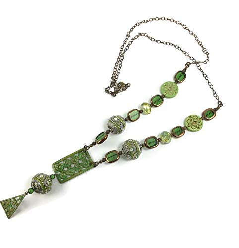 Kelly Green Long Boho Necklace with hand painted pendant, Handmade Beaded Necklace (#516) (Handmade Necklace Beaded)