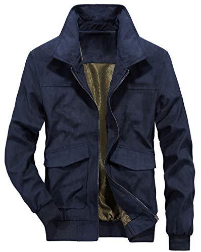 (chouyatou Men's Vintage Flat Collar Zip Regular Work Suede Leather Bomber Jacket (Medium, Dark Blue))