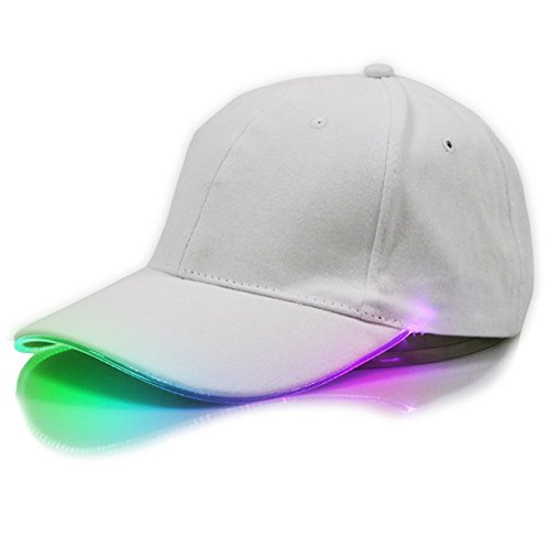 White LED Hat,TILO Multicolor LED Fiber Optic Illuminated Lights Light Stage Performance Tide Lighted Glow Club Sports Athletic Travel Tour Hat Baseball Bar Party Flash White Cap (Multicolor)