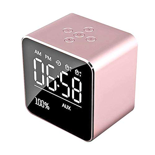 Wireless Bluetooth Speaker,INorton Portable Digital Mirror Alarm Clock with Night Light,Stereo Audio Music Player with LCD Display,Support TF Card