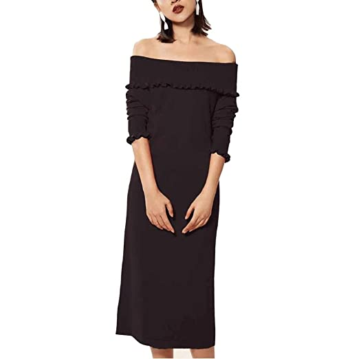 Amazoncom Womens Off Shoulder Sweater Dress Cashmere Slash Neck