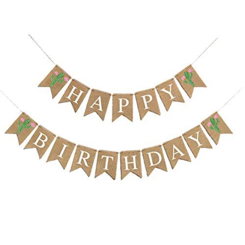 Amazon.com: Amosfun Burlap Happy Birthday Cactus Pennant ...