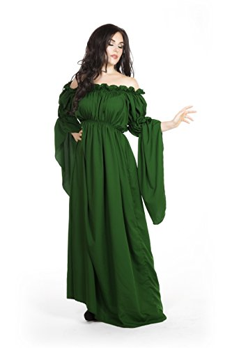 Empire Costume (Medieval Renaissance Costume Celtic Chemise Empire Waist (Hunter Green))