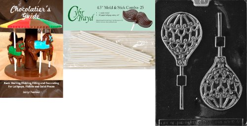 Cybrtrayd 'Hot Air Balloon Lolly' Kids Chocolate Candy Mold with 25 4.5-Inch Lollipop Sticks and Chocolatier's Guide