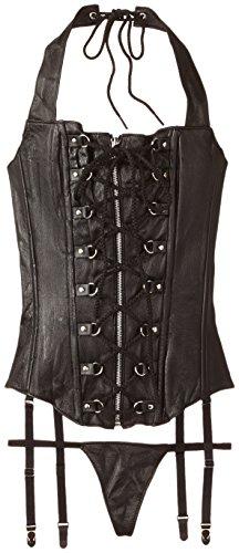 Allure Lingerie Women's Plus-Size Leather Lace-Up Zipper Front Corset, Black, -