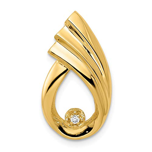 Bonyak Jewelry 14k 1.4mm AA Diamond Fancy Teardrop Chain Slide in 14k Yellow Gold