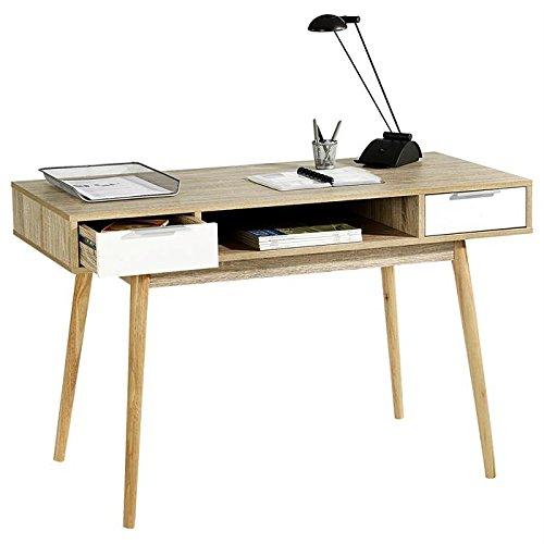 Console NEWPORT table d'appoint style scandinave bureau 2 tiroirs mélaminé décor chêne sonoma et blanc mat