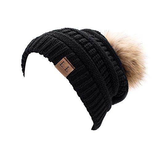 Lawliet Womens Unisex Winter Hat Pom Pom Slouchy Knit Beanie Ski Cap A404