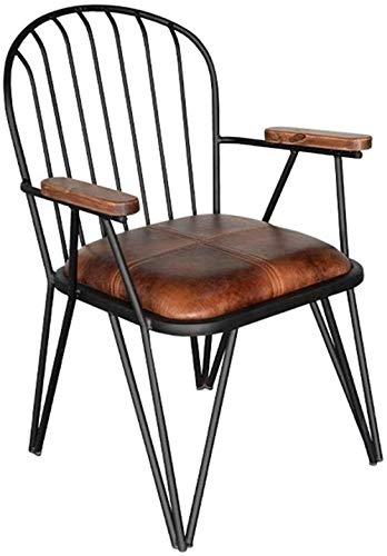 CHU N Industrial Chair, Metal Frame PU Cortex Dining Chair Pub Chair 87x55x56 cm 929 by CHU N