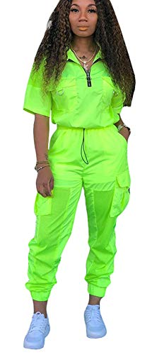 MONASAMA Women 2 Piece Sheer Mesh Jumpsuits Lightweight Two Piece Outfits Windbreaker Zipper Jacket and Long Pants Set Lime Green S
