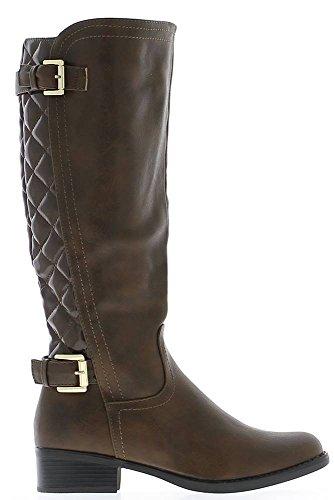 Asta di stivali femmarron Tacco 4cm imbottito