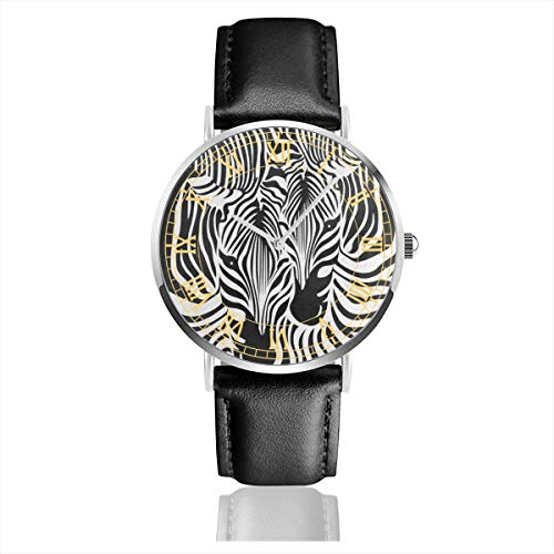 Funny Zebra Leopard Print Big Face Watch for Men, Water Resistance Wrist Watches in Leather Band Stainless Steel Quartz Watch for Women Girls Boys 38mm/1.5