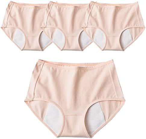 Menstrual Panties 4 Pcs Women Underwear Leak Proof Physiological Pants Cotton Briefs Incontinence Period Knickers Elastic Mid Waist,XL