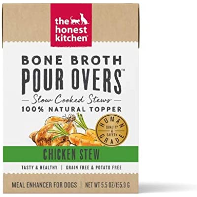 5.5 Oz Dog Pour Over Grain Free Bone Broth Chicken Stew Food (Single)