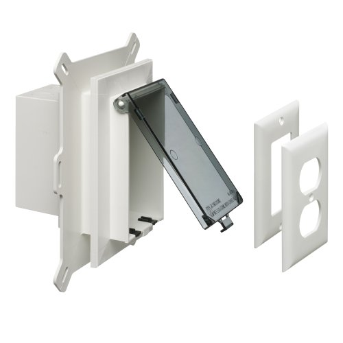 Arlington DBVS1C-1 Low Profile IN BOX Recessed Outlet Box Wall Plate Kit for New Vinyl Siding Construction, Vertical, 1-Gang, Clear (Enclosure Type 3r Cover)