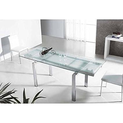 Mesa de comedor cristal extensible Gerona: Amazon.es: Hogar