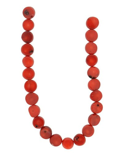 Wonderful Red Coral Necklace (Tennessee Crafts 1296 Coral Red Bamboo Coral Flat Round Beads, 8mm)