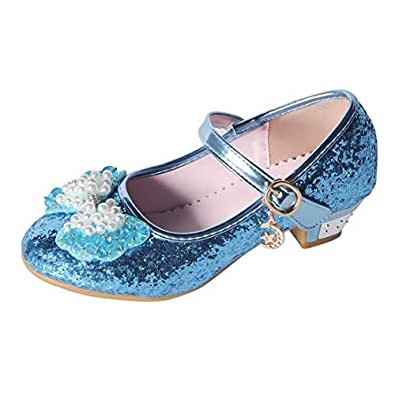 YIBLBOX Kids Girls Mary Jane Wedding Party Shoes Glitter Bridesmaids Low Heels Princess Dress Shoes Blue Size: 1 Little Kid